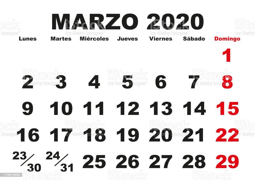 Vector De Calendario 2020.Marzo 2020 Wall Calendar Spanish Stock Illustration