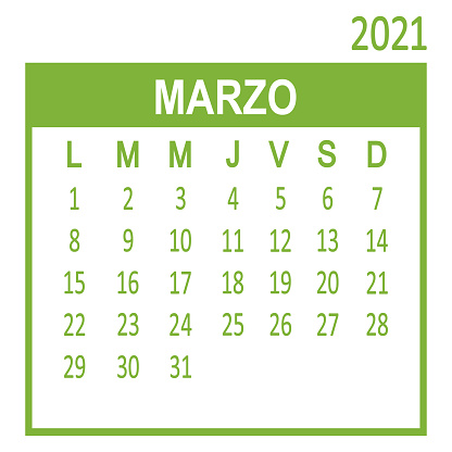 Marzo March. Third page of set. Calendar 2020, template. Week starts from Lunes Monday. Vector