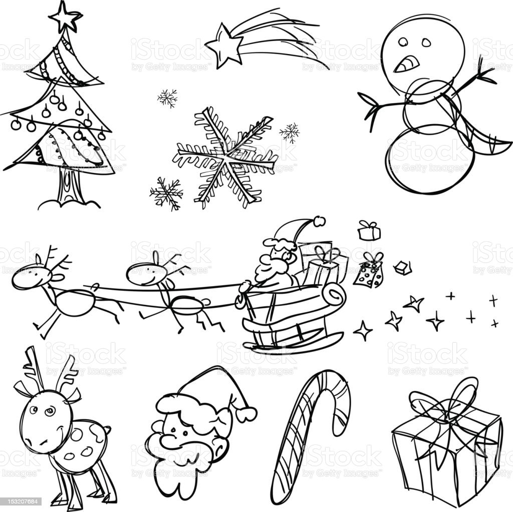 X'mas collection in Black and White royalty-free stock vector art