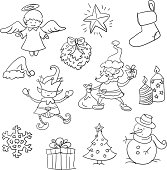 Sketch drawing of X'mas elements.