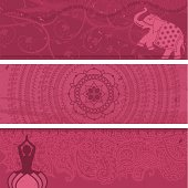 A collection of multi-layered pink banners. Lots of copy space! Includes an Indian elephant, a lotus mandala and a yoga figure. (Includes .jpg)