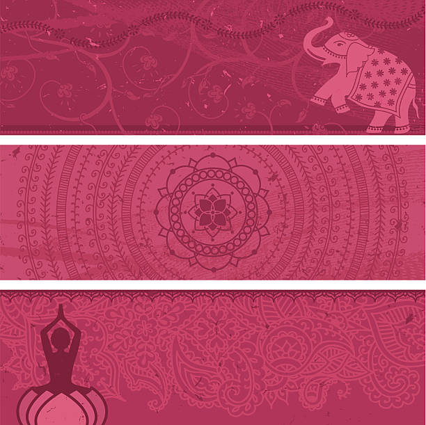 Masala Banners Pink A collection of multi-layered pink banners. Lots of copy space! Includes an Indian elephant, a lotus mandala and a yoga figure. (Includes .jpg) prayer pose yoga stock illustrations