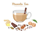 Masala tea in glass cup Isolated on white. Spices for Indian drink. Vector Cartoon flat illustration of cinnamon stick, anise stars, cloves, peas, bay leaf, ginger, cardamom, nutmeg, black tea.