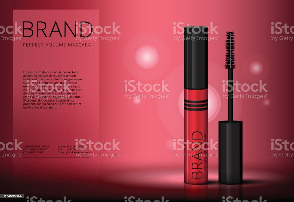 Mascara brush vector banner mock-up advertising. Realistic 3d red eyelash or eyecleaner package design. Luxury makeup cosmetic product container or tube in cherry color with beauty catalog ad layout. vector art illustration