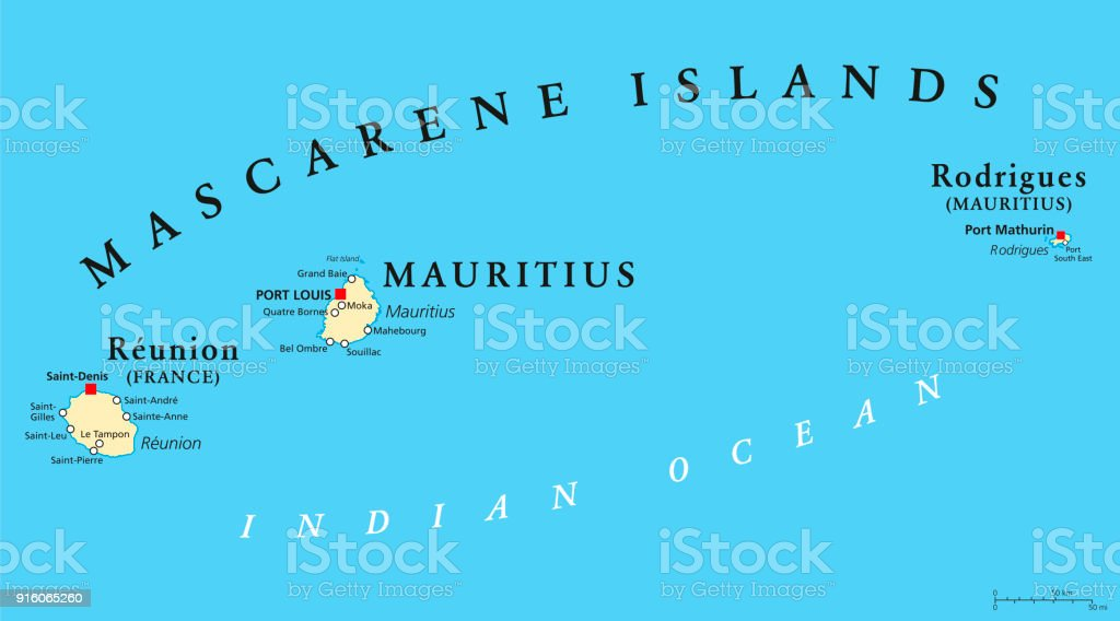 Mascarene Islands political map, Mauritius, Reunion and Rodrigues vector art illustration