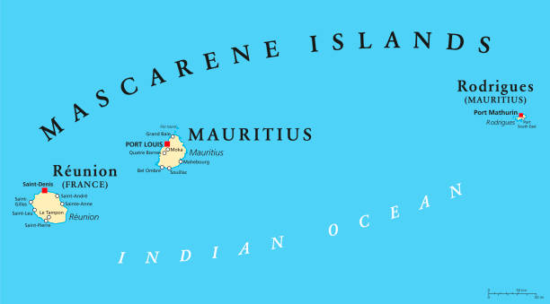 mascarene islands political map, mauritius, reunion and rodrigues - reunion stock illustrations, clip art, cartoons, & icons