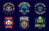 Emblem design templates with different animals mascots. Sport team badges designs. Vector set.