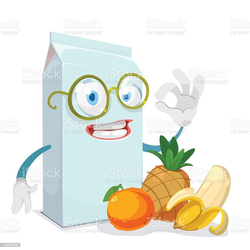 Mascotte Personnage De Dessin Animé Avec Une Boîte à Jus De Fruits à La Banane Et à Lananas Vecteurs Libres De Droits Et Plus D Images Vectorielles De