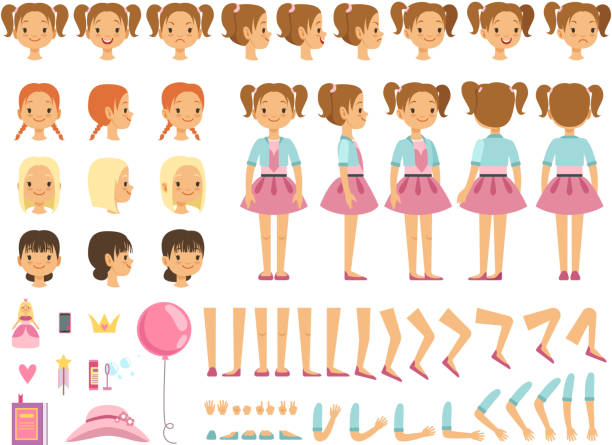 ilustrações de stock, clip art, desenhos animados e ícones de mascot creation kit of little girl and some children toys. vector constructor with fun emotions and different body parts - girl