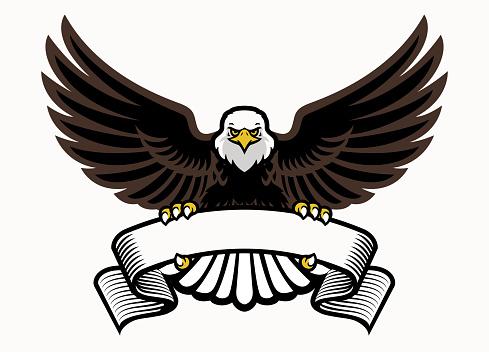 mascot eagle grip the blank ribbon