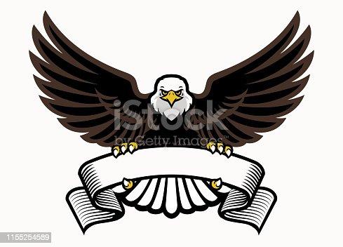 vector of mascot eagle grip the blank ribbon