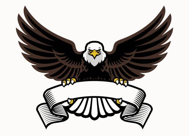 illustrations, cliparts, dessins animés et icônes de mascotte aigle poignée le ruban blanc - aigle