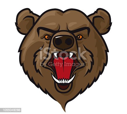 Vector Illustration of a ferocious Mascot Head Grizzly Bear