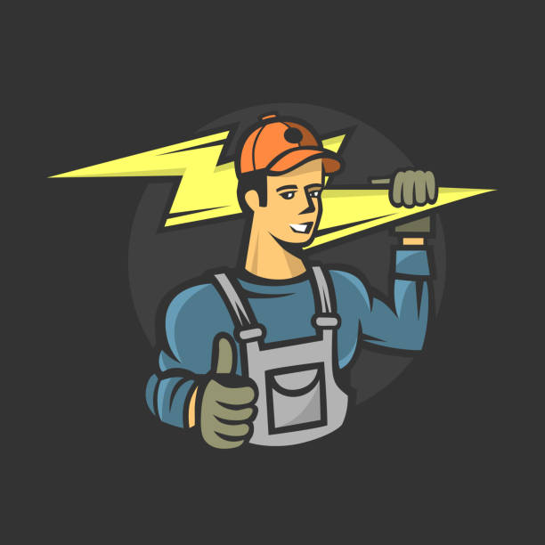 Mascot icon illustration of bust of a power lineman or electrician holding a thunderbolt or lightning bolt viewed. Vector illustration football lineman stock illustrations