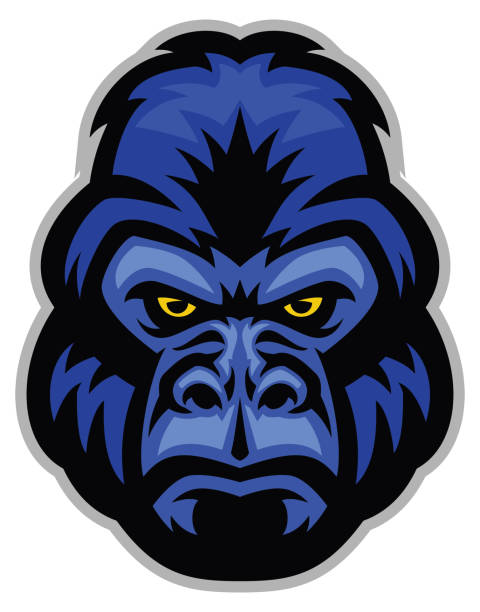 ilustraciones, imágenes clip art, dibujos animados e iconos de stock de mascota de cabeza de gorila - gorila