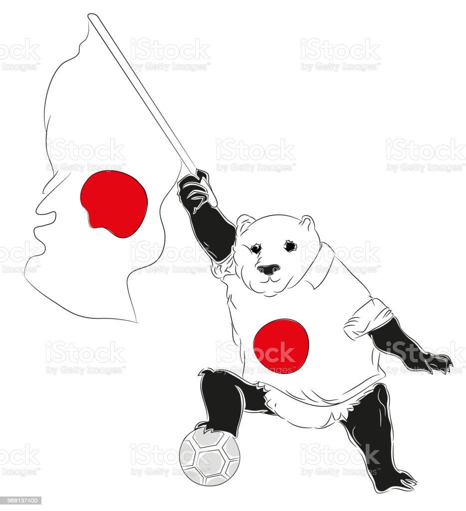 Maskot Japon futbol vektör sanat illüstrasyonu