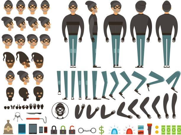 ilustrações, clipart, desenhos animados e ícones de projeto mascote ou personagem de bandido. kit de criação do vetor com elementos específicos e diferentes partes do corpo - landscape creation kit