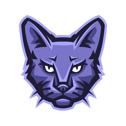 Mascot stylized cat head.
