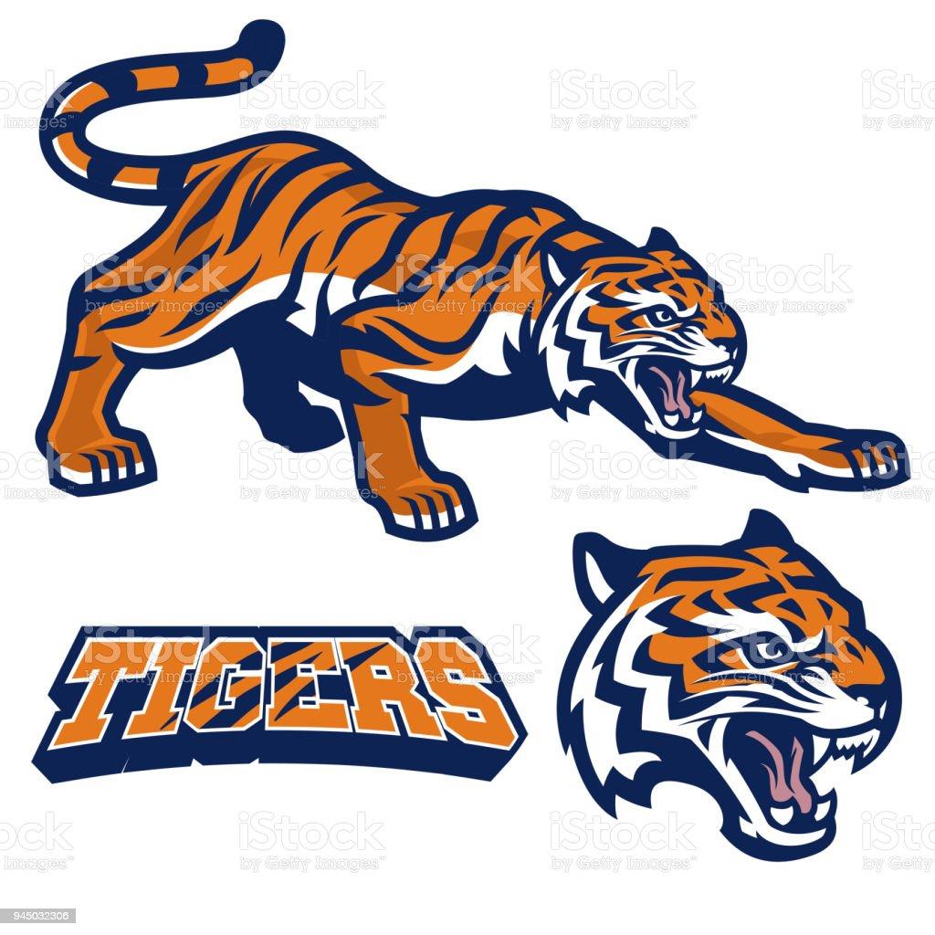 mascot tiger crouching in set vector art illustration