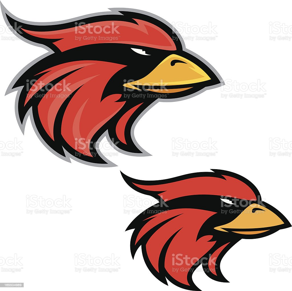 Mascots using the head of cardinals on a white background vector art illustration