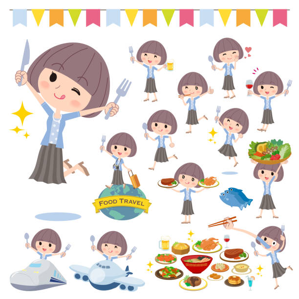 Mash hair blue cardigan women_food festival A set of women on food events. There are actions that have a fork and a spoon and are having fun. It's vector art so it's easy to edit. hungry child stock illustrations