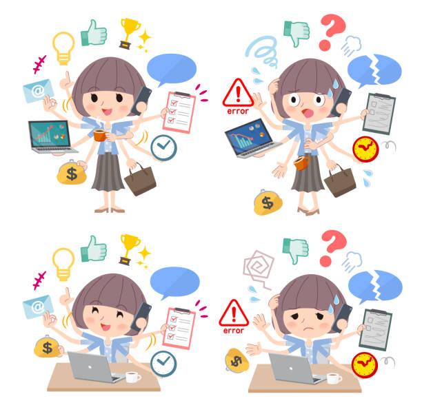 髪青いカーディガン women_mulch タスク オフィスをマッシュ アップします。 - 大学生 パソコン 日本点のイラスト素材/クリップアート素材/マンガ素材/アイコン素材