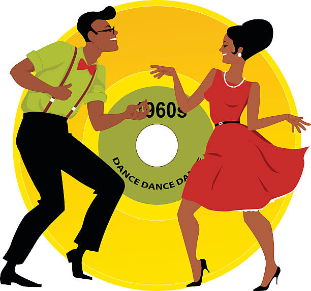 Mashed Potato Dance Stylish couple dressed in early 1960s fashion dancing the twist, vinyl record on the background, EPS 8 early 20th century stock illustrations