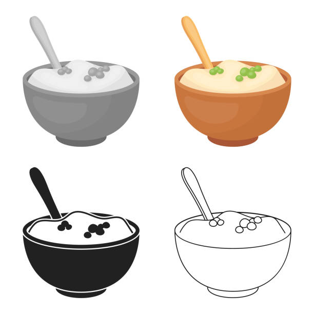 Mashed potatoes icon in cartoon style isolated on white background. Canadian Thanksgiving Day symbol stock vector web illustration. - illustrazione arte vettoriale