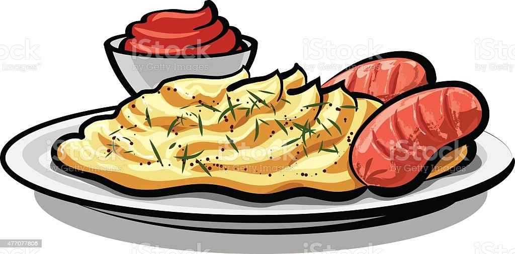 mashed potatoes vector art illustration