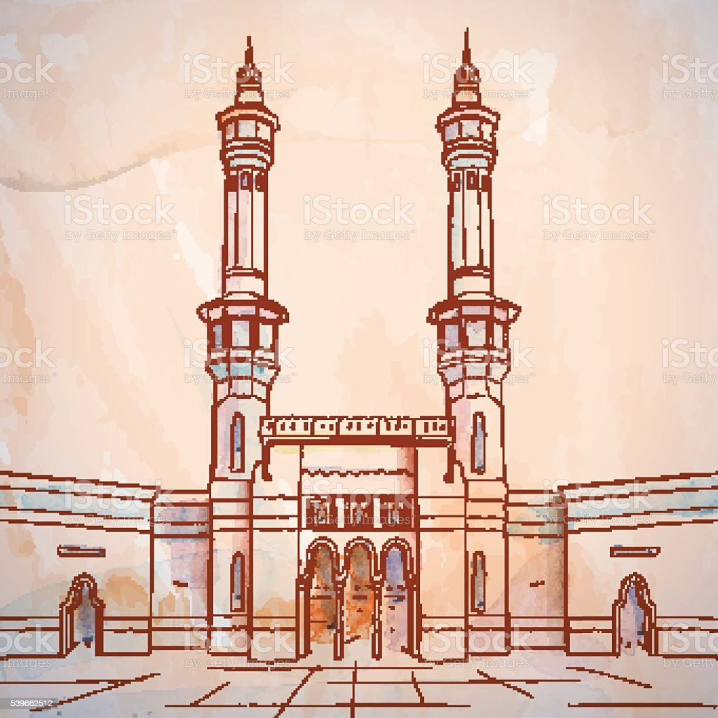 Masjid Al Haram In Mecca Vector Watercolor Brush ...
