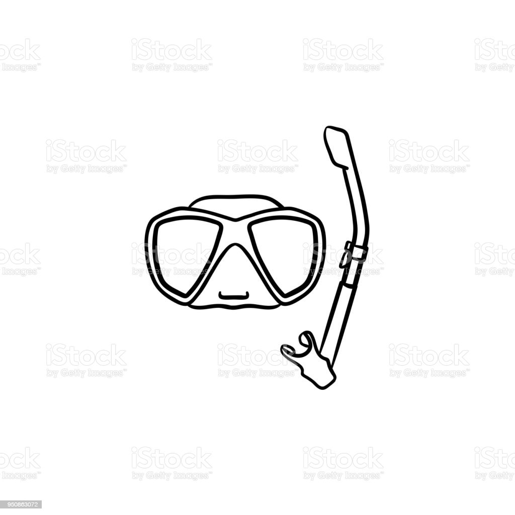 mask and snorkel for swim in pool hand drawn icon stock vector art
