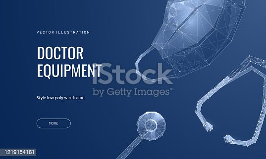 Mask and stethoscope. Low poly wireframe style. Concept of health-care, doctors and medicine. Polygonal abstract isolated on blue background. Vector illustration