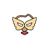 istock mask angel line colored icon. Signs and symbols can be used for web, logo, mobile app, UI, UX 1322349318