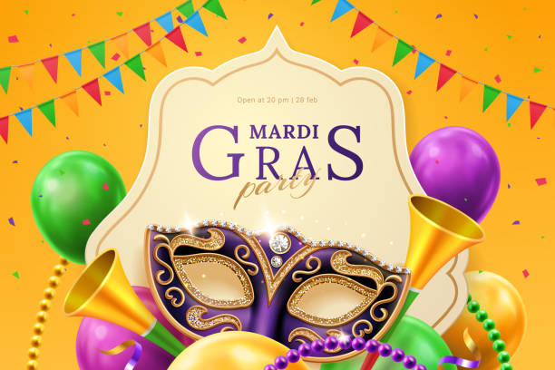 Mask carnival at mardi gras invitation flyer Purple mask with diamonds for carnival at mardi gras invitation flyer. Balloons and horns, beads and flags, crepe paper streamer at venice parade background. New Orlean parade banner. Venetian holiday mardi gras stock illustrations