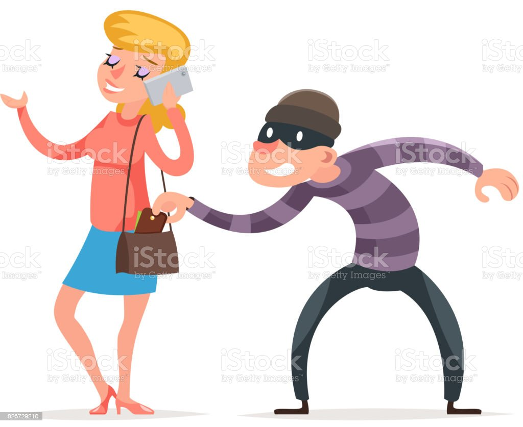 Mask Criminal Male Thief Stealing Purse From Hapless Female Girl ...