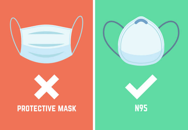 ilustrações de stock, clip art, desenhos animados e ícones de n95 mask. face pollution masks dust respirator epidemic protection breath smog protect devices allergy pm2, 5, flat vector icons - máscaras
