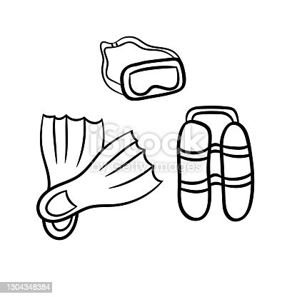 istock Mask, fins and scuba gear for diving.A simple sketch drawn by hand.Summer vector illustration in Doodle  style on a white background. 1304348384