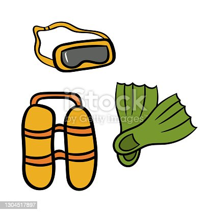 istock Mask, fins and scuba gear for diving.A simple sketch drawn by hand.Summer vector illustration 1304517897