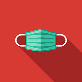 A flat design styled medical supplies icon with a long side shadow. Color swatches are global so it's easy to edit and change the colors.