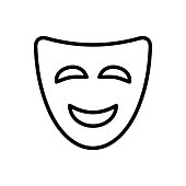 Mask icon flat vector simple isolated illustration signage template design trendy