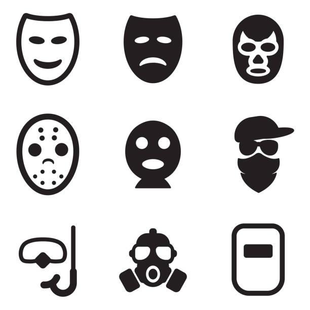 bildbanksillustrationer, clip art samt tecknat material och ikoner med mask icons - face mask