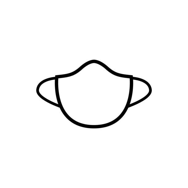 stockillustraties, clipart, cartoons en iconen met pictogram de lijn van het masker, embleem dat op witte achtergrond wordt geïsoleerd - kostuum