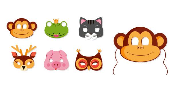 maske von tieren für kinder geburtstag oder kostüm party vektor-illustrationen - tierfotografie stock-grafiken, -clipart, -cartoons und -symbole