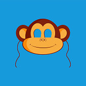 Mask of monkey animal for kids birthday or costume party vector illustrations