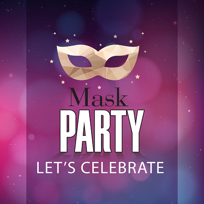 Mask Party Let's Celebrate Mask Purple Background Vector Image