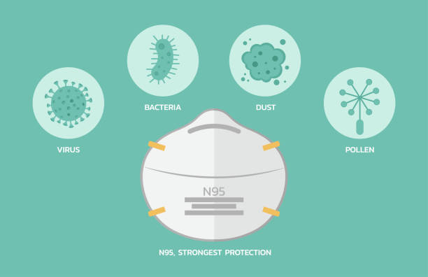 n95 maskenschutz effizienz infografik - ffp2 maske stock-grafiken, -clipart, -cartoons und -symbole