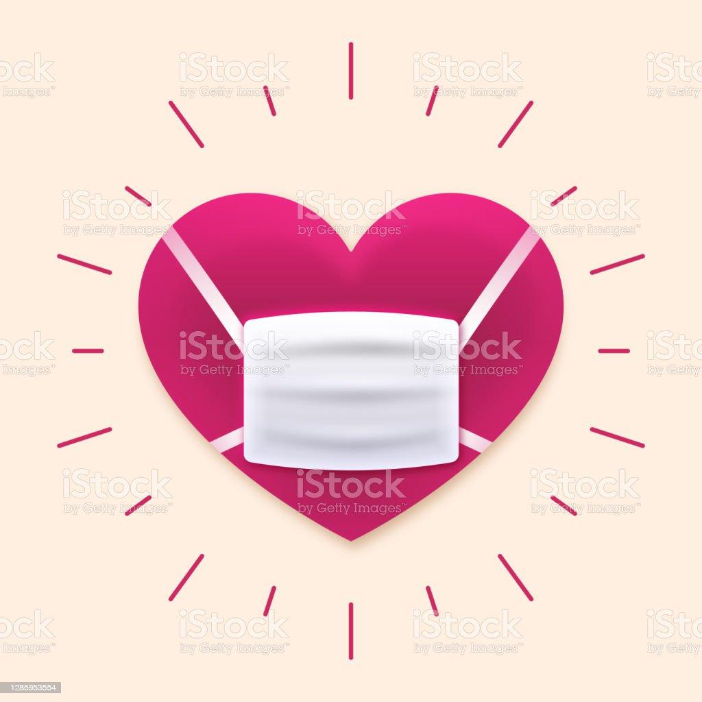 口罩保護心臟病預防護理理念 - 免版稅2019冠狀病毒病圖庫向量圖形