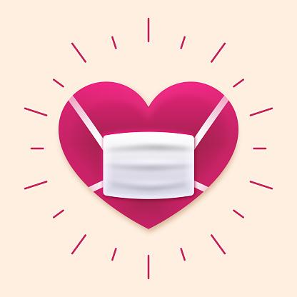 口罩保護心臟病預防護理理念向量圖形及更多2019冠狀病毒病圖片