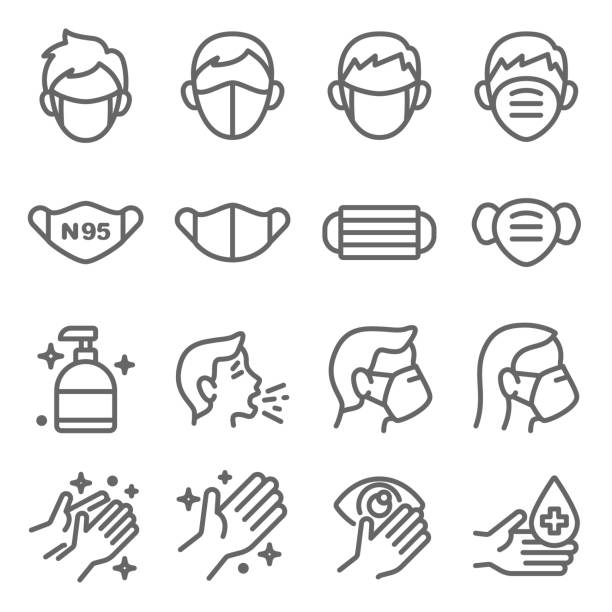 Mask protection virus icon set vector illustration. Contains such icon as clean, sneeze, mask, hand washing, hand sanitizer and more. Expanded Stroke Mask protection virus icon set vector illustration. Contains such icon as clean, sneeze, mask, hand washing, hand sanitizer and more. Expanded Stroke covid icon stock illustrations