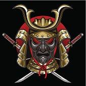 mask samurai with katana